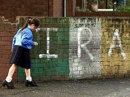 IRA sign and girl